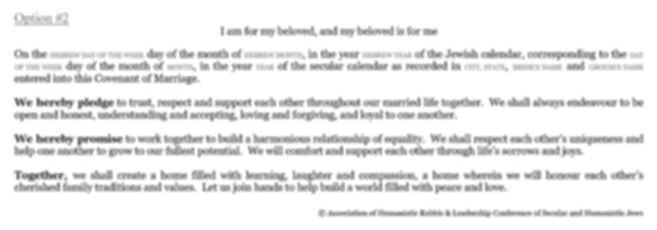 Secular Humanistic ketubah text option #2