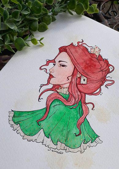 Aquarelle Portrait Féminin