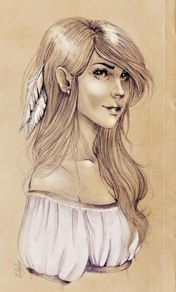 Jeune fille à la plume
