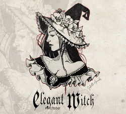 Witchtober 30 : Elegant Witch (dessin original encre de chine)