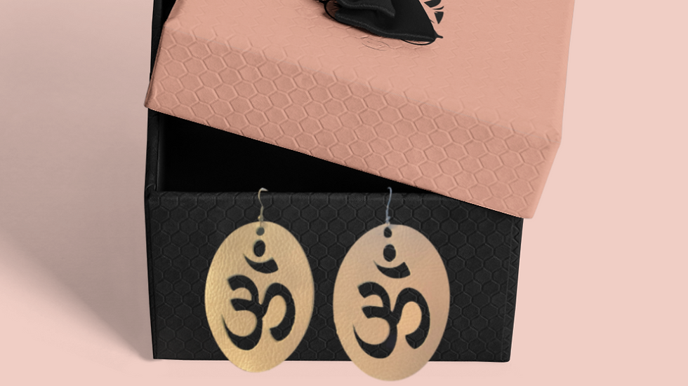 Om Faux Leather Earrings