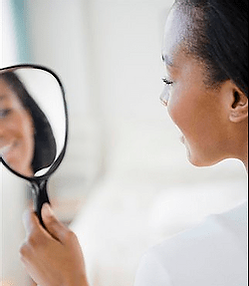 microblading los angeles, holding mirror