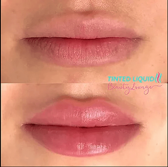 lip blush tattoo, before and after, pink