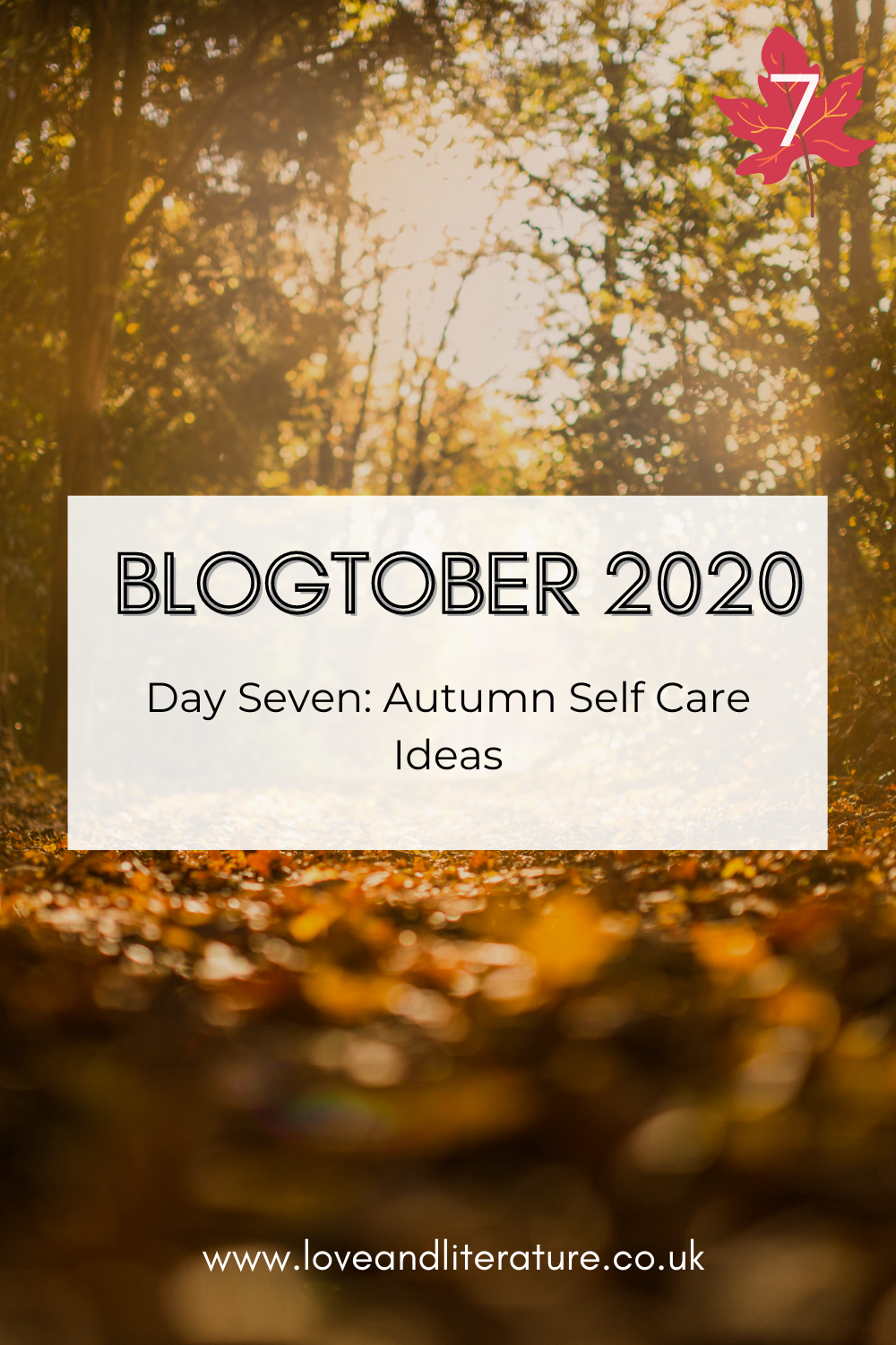 Autumn Self Care Ideas Pin, Leaves picture background, text at the front
