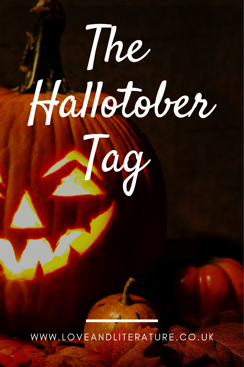 The Hallotober Tag Pin, Pumpkin on a dark background, text at front.