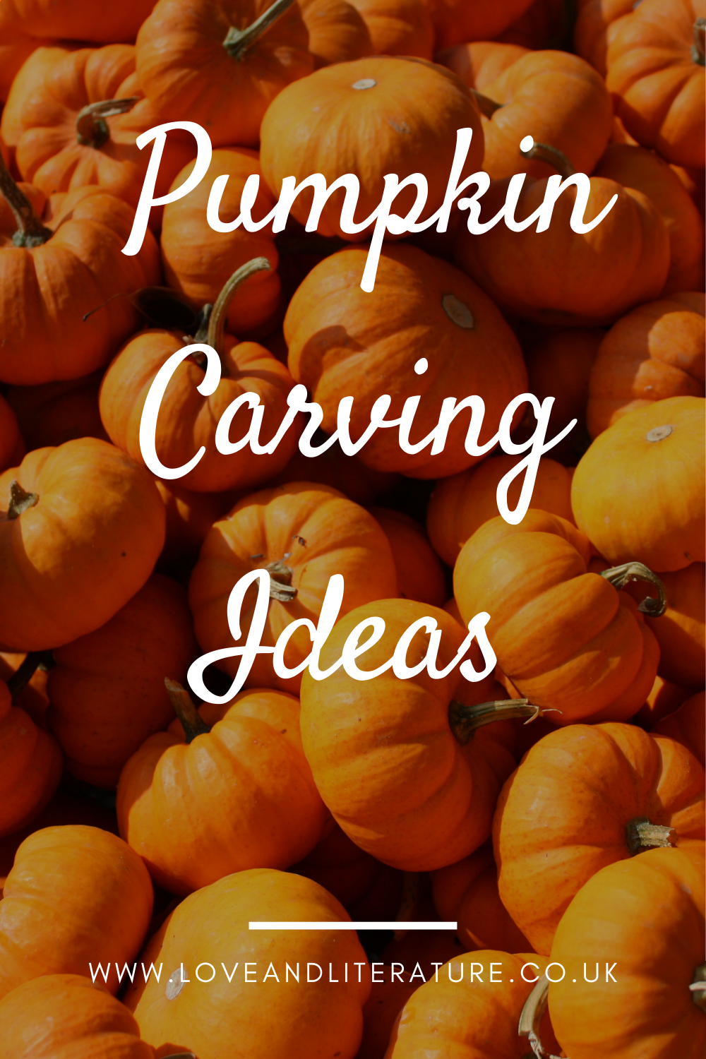 Pumpkin Carving Ideas Pin, Pumpkins background, text at front centre