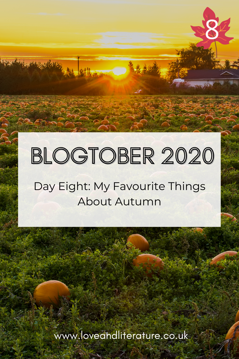 My Favourite Things About Autumn Pin. Pumpkin patch picture with text at front.