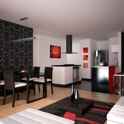 Diseño y construcción edificio BQ 85 Sala, comedor, cocina