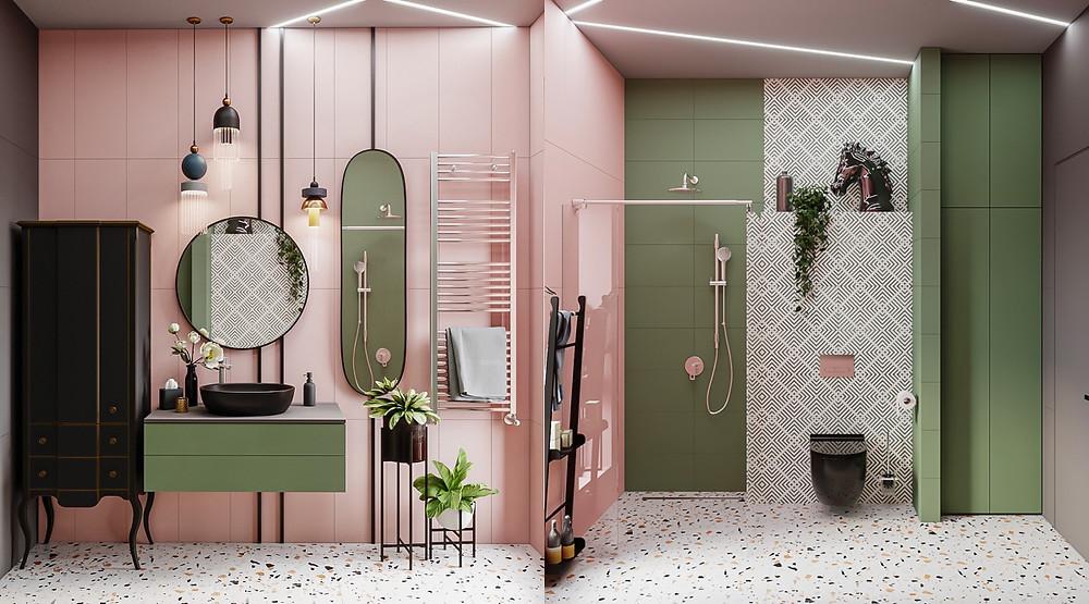 Baño rosado, verde y terrazo