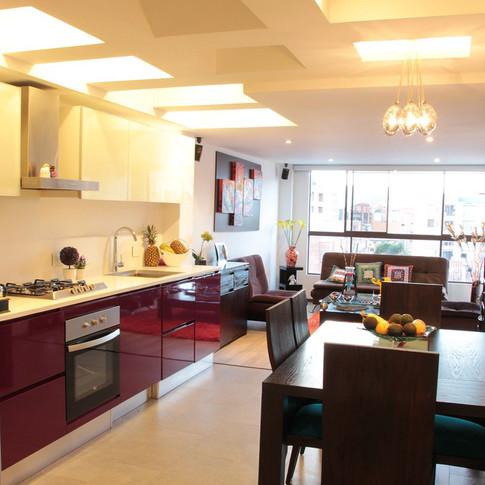 Remodelación integral Apartamento 104 Sala, comedor y cocina