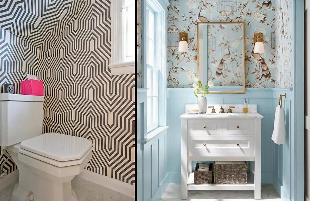Baños con papel tapiz