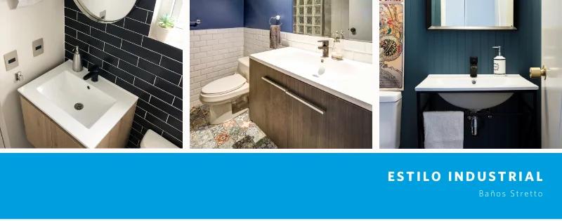 Pisos y paredes de baños estilo industrial