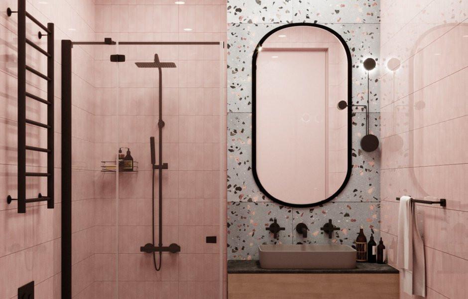 Baño terrazo y rosado