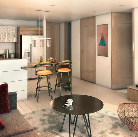 Diseño y contrucción Antara 135 Sala y cocina