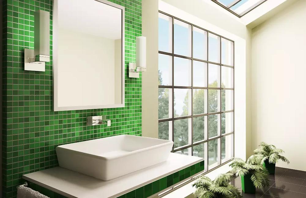 Bano azulejos verdes