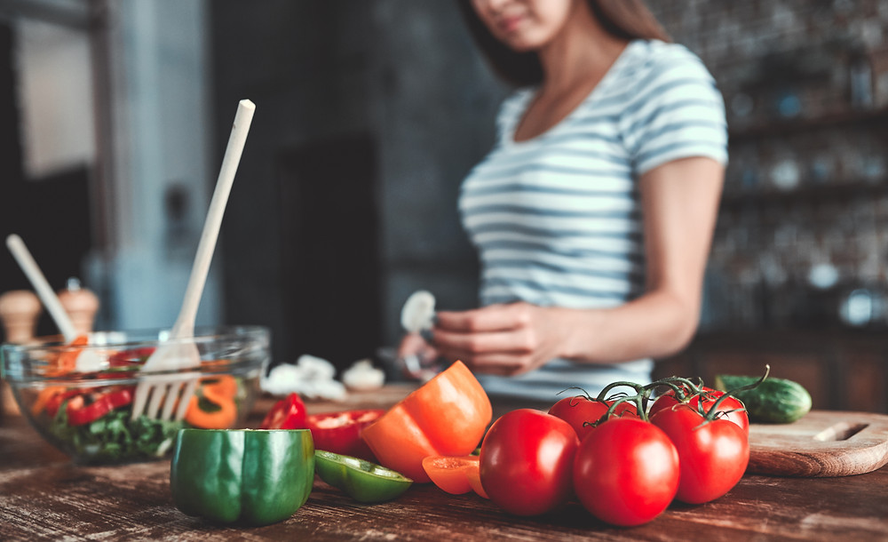 Woman making a healthy dinner