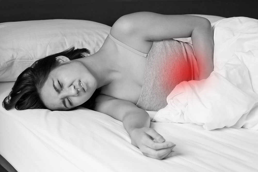 Woman in pain from a period related illness