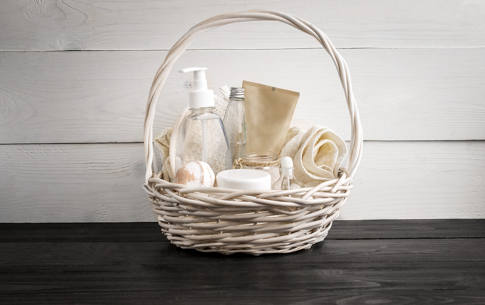 white wicker basket with supplies in it