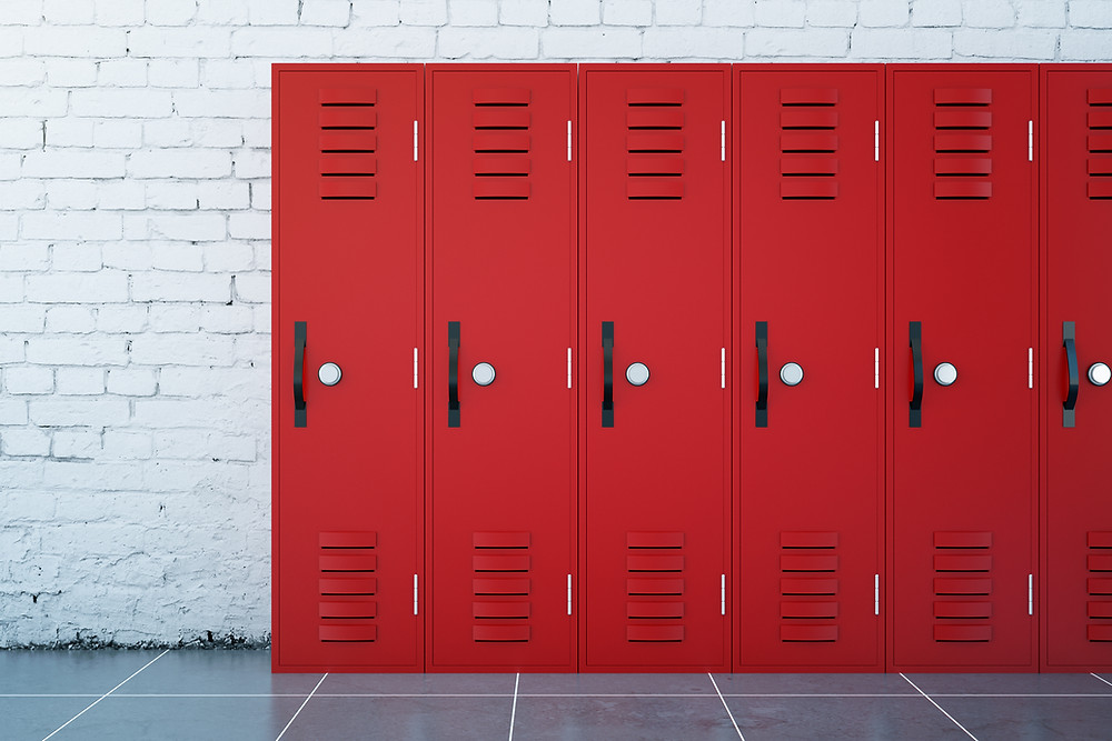 Red locker at a school where you get your period