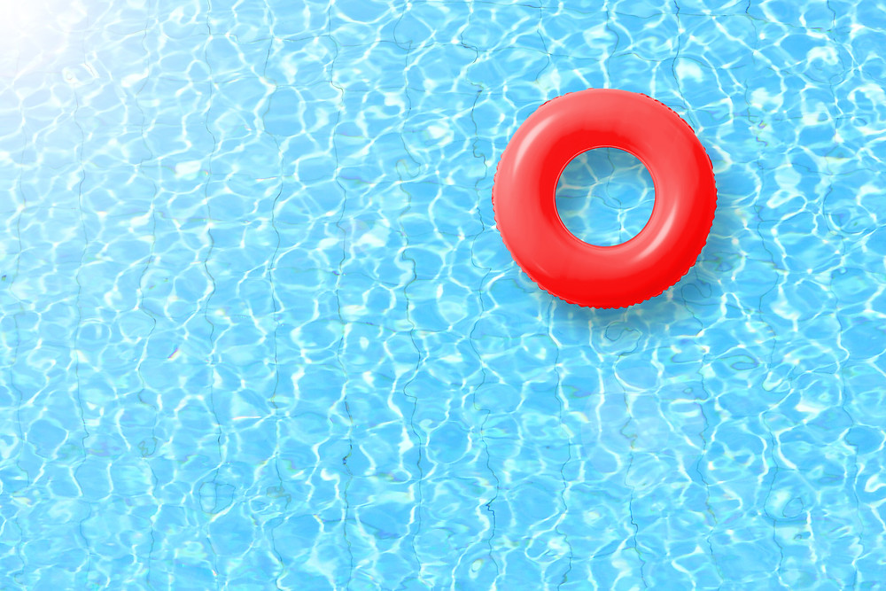 Red pool float to use during the summer