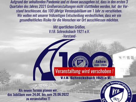 Wichtige Information zum 100 Jährigen Vereinsjubiläum !!!