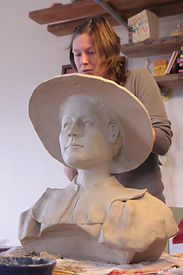 Julie Schuder building bust of lady