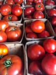 Quarts of vine-ripened tomatoes at market