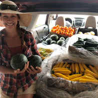 Car loaded up with fruits and vegetables for a local pantry