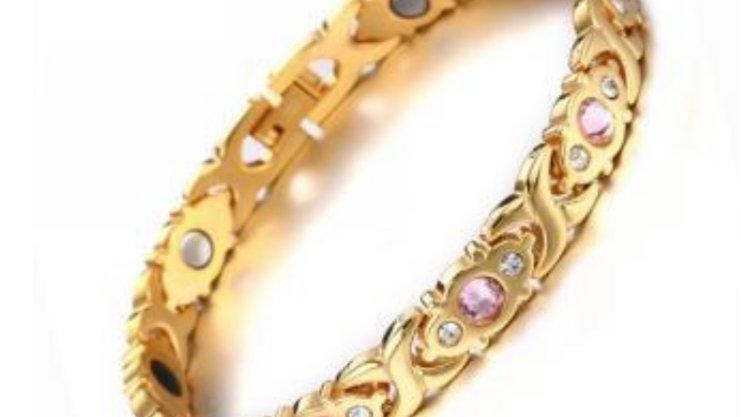 Ladies Single Pink + Diamond Stones with Tourmaline