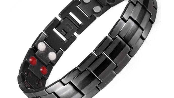 Matt Black - Double Strength Power Bracelet with Tourmaline