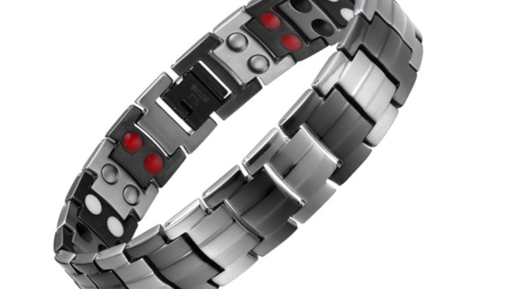 Men's Gray & Black Double Strength Power Bracelet with Tourmaline