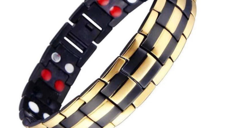 Men's Black with Gold,Double Strength Power Bracelet with Tourmaline