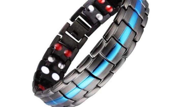 Black with Blue Stripe - Double Strength Power Bracelet