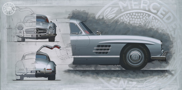 Mercedes 'Gullwing' painting and prints