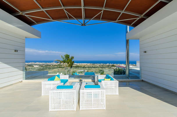 This beautiful villa is situated on a mountain top in Protaras and it boasts breath taking sea views, in a tranquil and private setting as the villa is private and there are no other houses close to it.