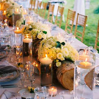 Top table floral tree trunk centrepiece