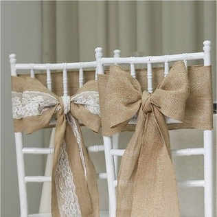 Burlap chair sashes with lace