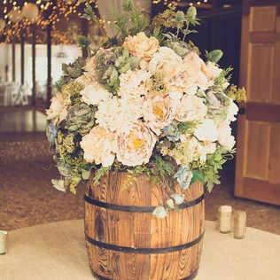 Two floral barrels