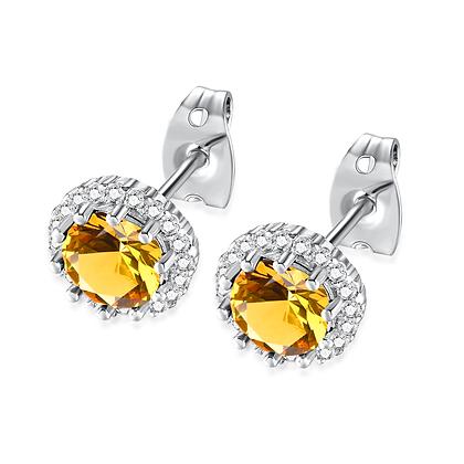 Citrine Rhinestone Earrings