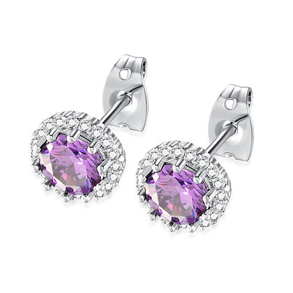 Amethyst Rhinestone Earrings