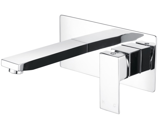 Mizu Bloc Set Chrome Bath Wall Mixer