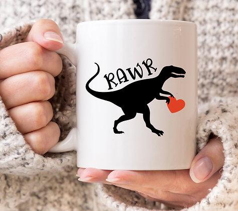 Rawr Dinosaur Valentines Mug