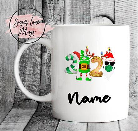 Custom Personalised 2020 Mask Toiletroll Christmas Mug