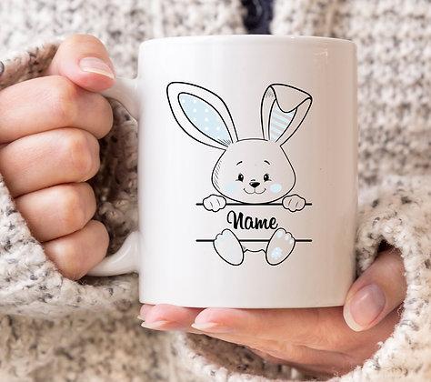 Personaslised *Any Name* Easter Bunny BLUE Mug