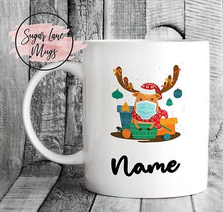 Custom Personalised Reindeer Mask Presents Christmas Mug