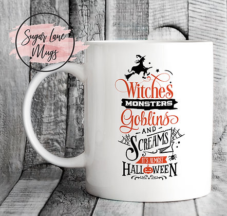 Witches Monsters Goblins and Screams Halloween Mug