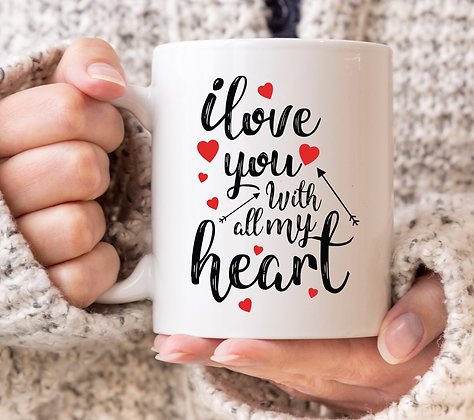 I Love You With All My Heart Valentines Mug