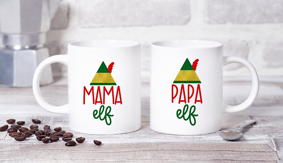 Mama Elf, Papa Elf Twinpack Mugs (x2)