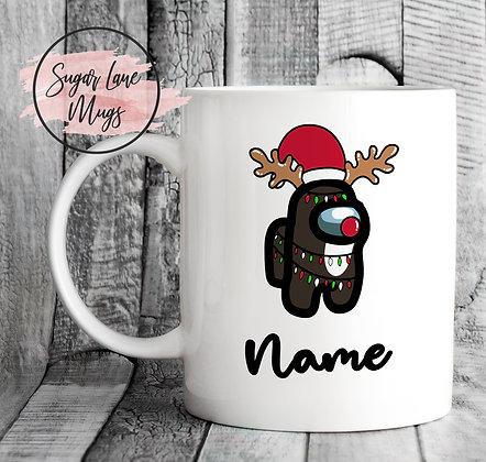 Custom Personalised Among Us Reindeer Lights Christmas Mug