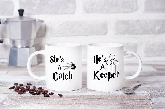 She's a Catch, He's a Keeper Harry Potter Twinpack Mugs (x2)